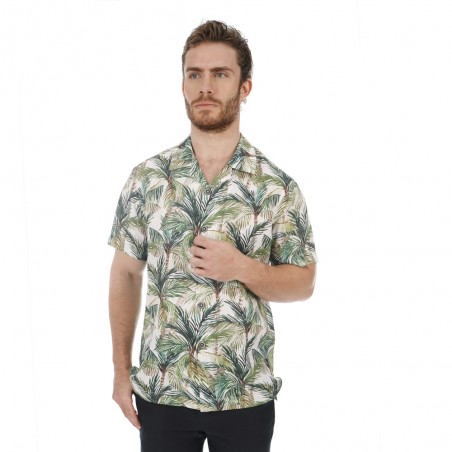 Green leaves printed shirt