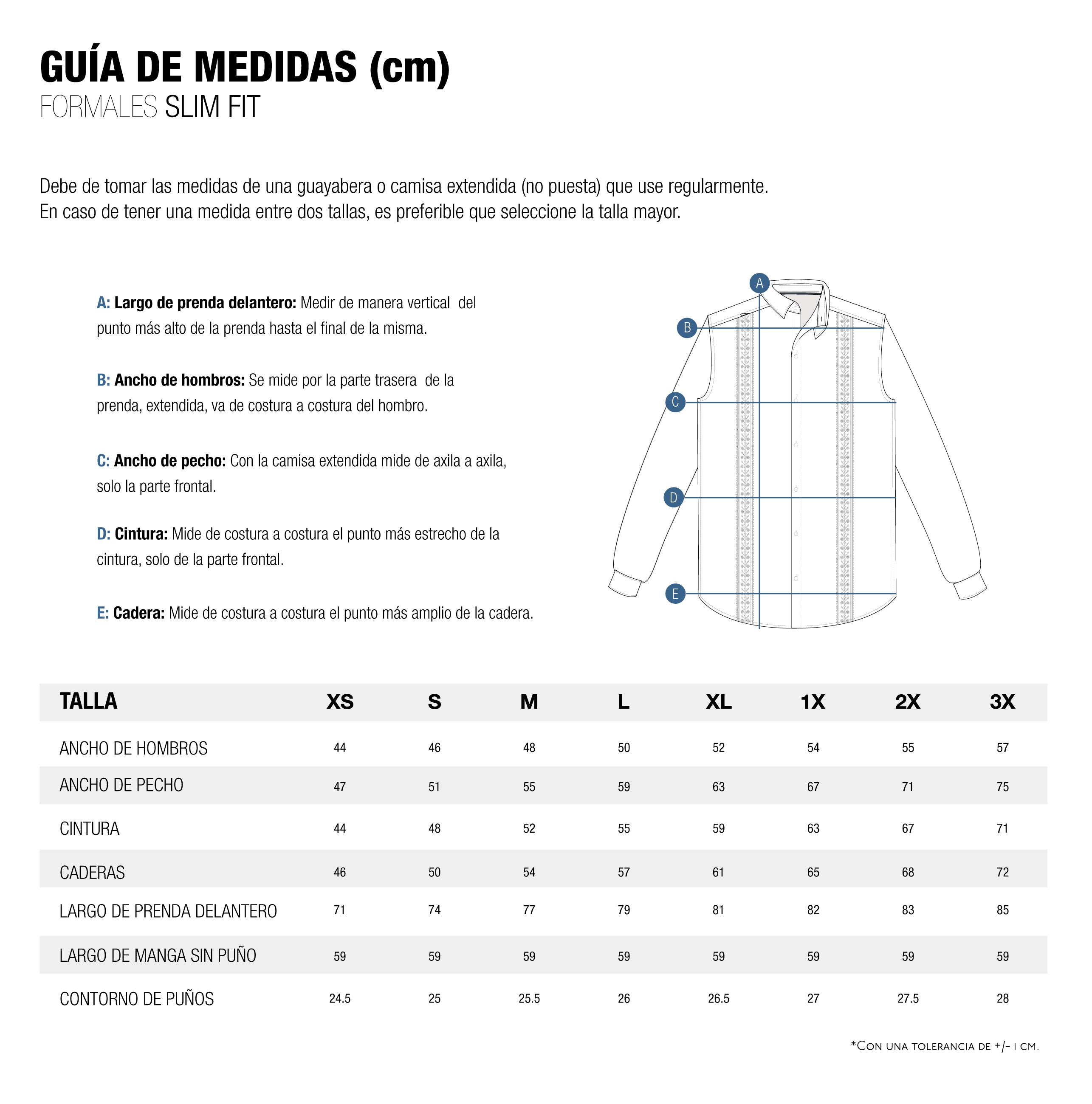 Guia de Medidas Slim Fit